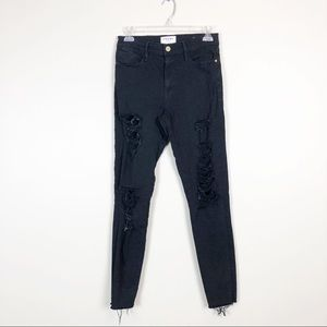 FRAME Le High Distressed Black Skinny Jeans